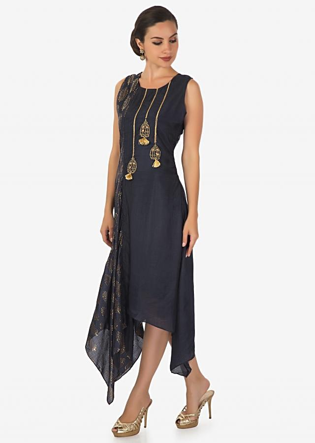 Navy blue with fancy hem line adorn in foil print and cage motif embroidery only on Kalki