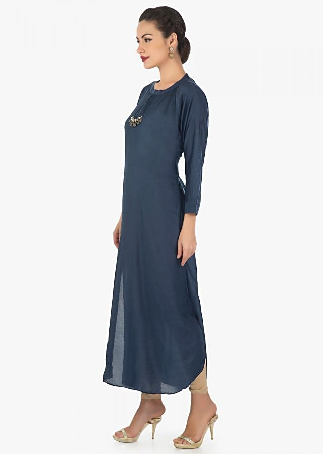 Navy blue A line kurti in cotton silk with pin tucks and fancy tassel only on Kalki