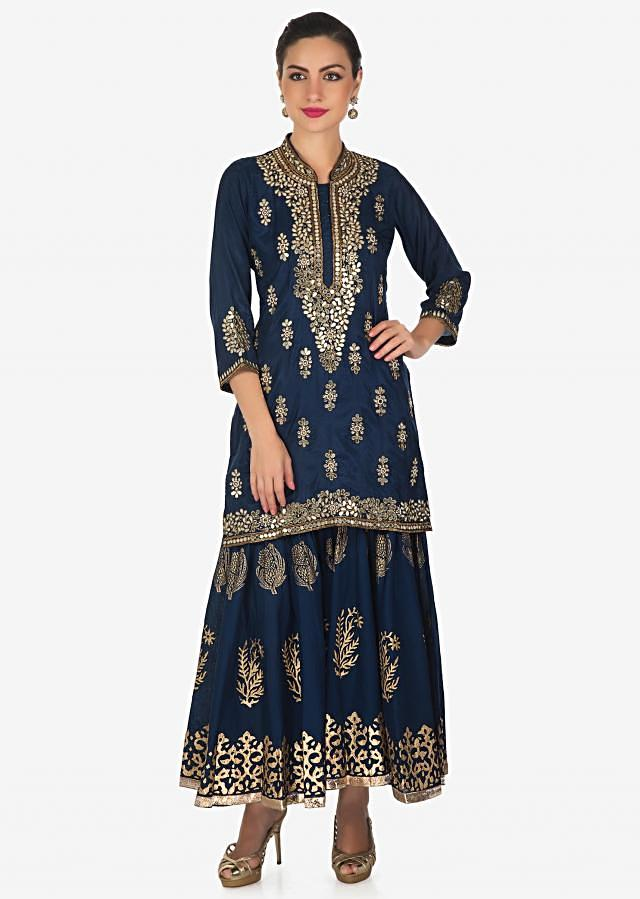 Navy blue A line suit with palazzo pant adorn in mirror and zari work only on Kalki