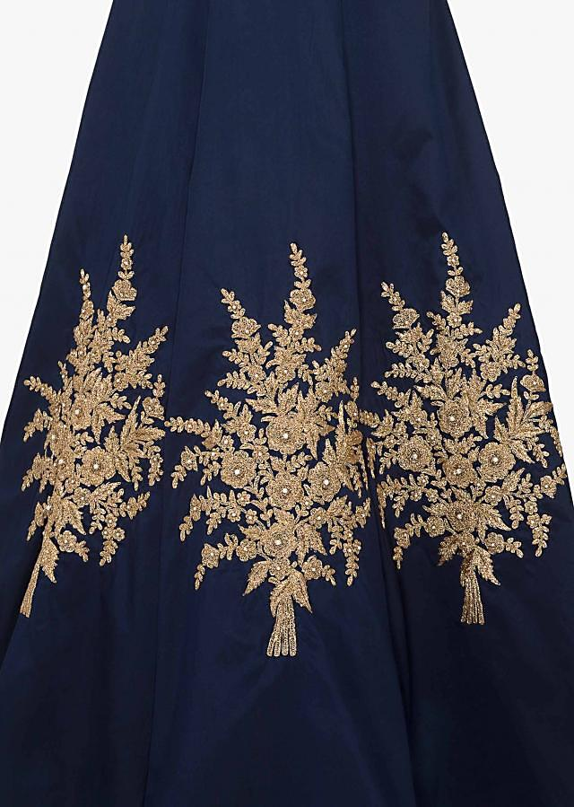 Navy blue anarkali gown embellished in heavy zari embroidery work only on Kalki
