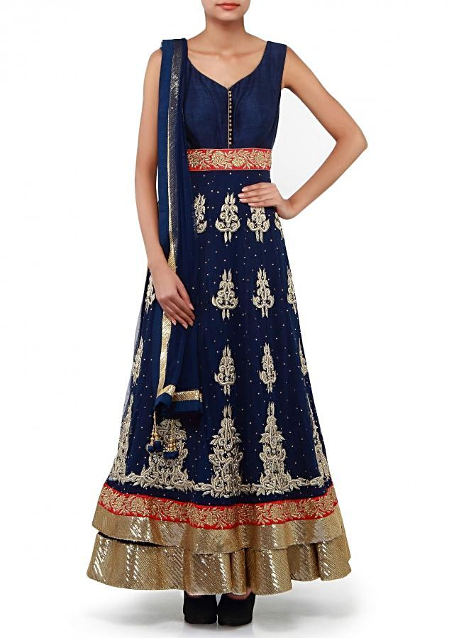 Navy blue anarkali suit adorn in double layer only on Kalki