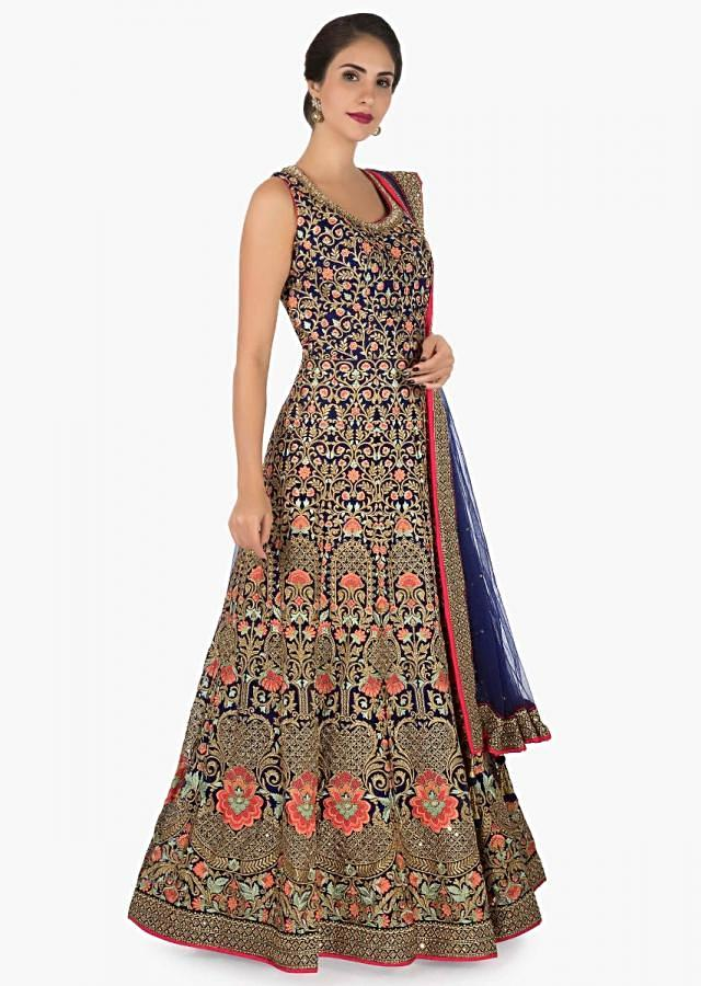 Navy blue anarkali suit beautifully designed using the resham and zari embroidery work only on Kalki