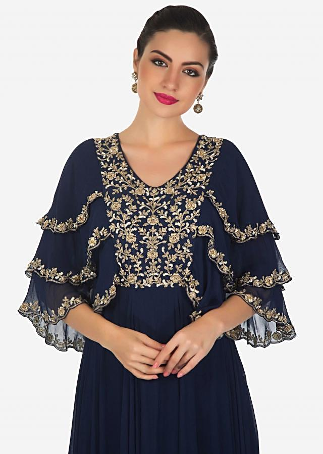 Navy blue anarkali suit in georgette with embroidered bodice only on Kalki