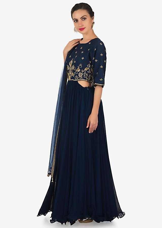 Navy blue anarkali suit in georgette with zardosi and sequin bodice only on Kalki