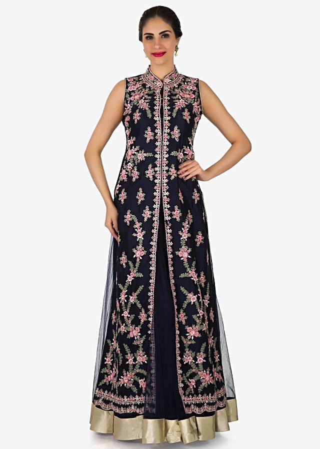 Navy blue anarkali suit in net adorn in resham and zari embroidery only on Kalki