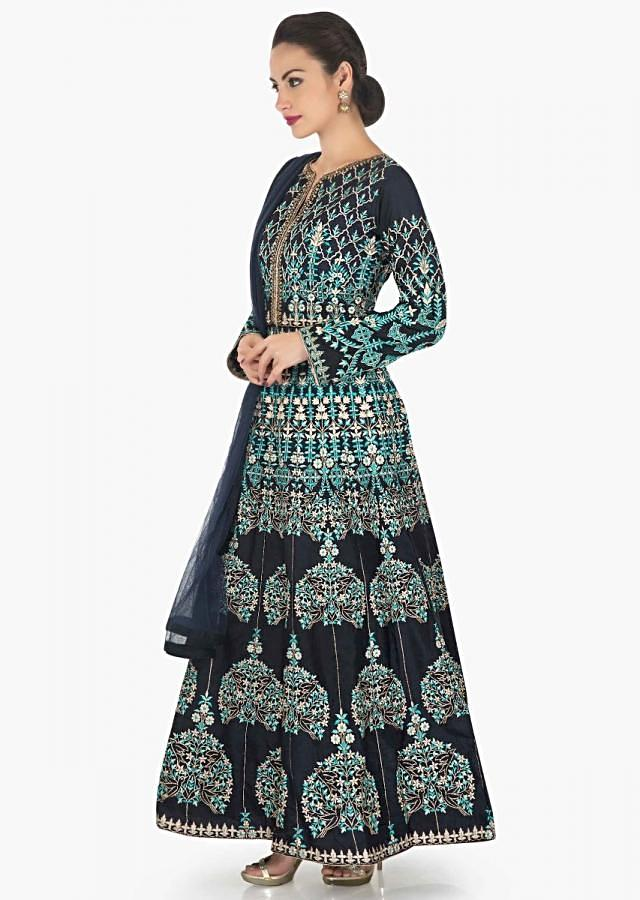 Navy blue anarkali suit in raw silk with turq and cream resham embroidery only on Kalki