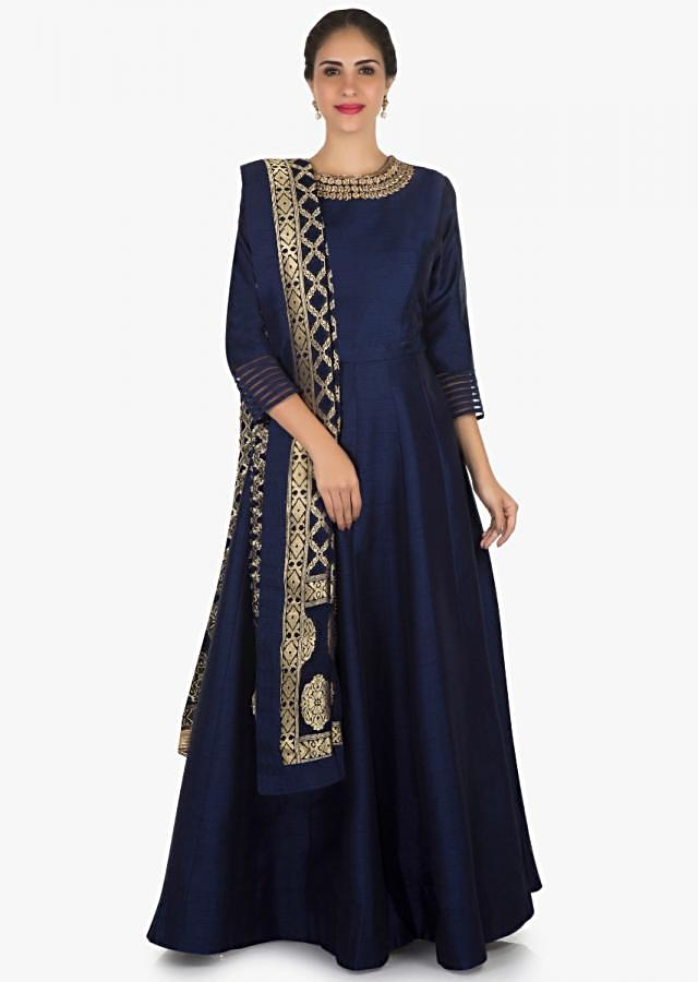 Navy blue anarkali suit in silk with a banarasi brocade dupatta adorn in cutdana and kundan work only on Kalki
