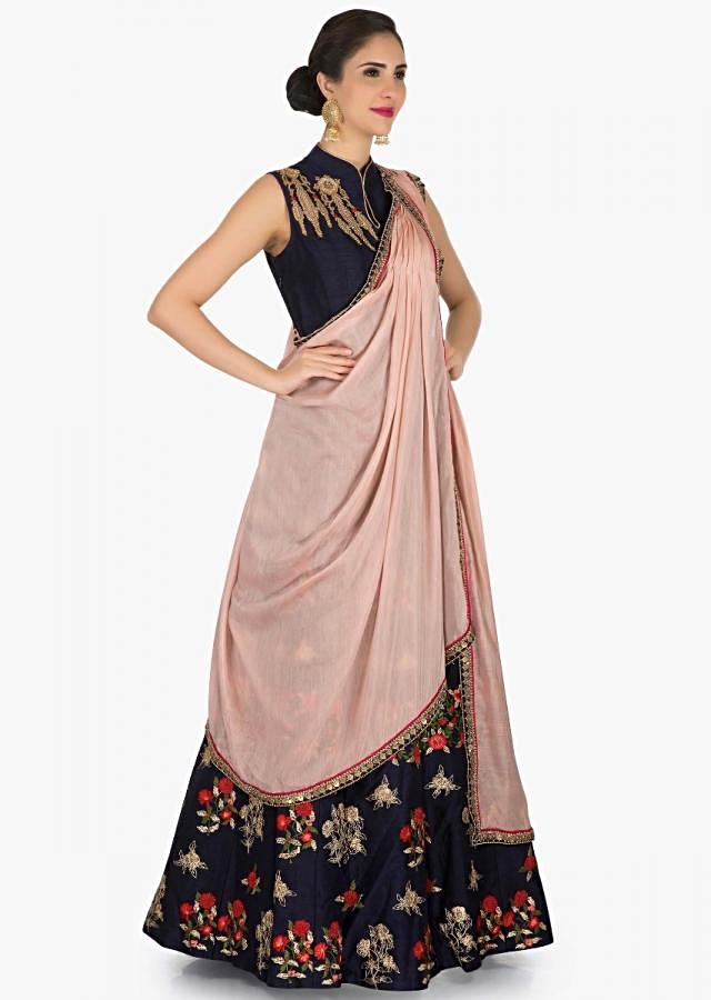 Navy blue anarkali suit with ready pleated pink dupatta adorn in resham embroidery work only on Kalki