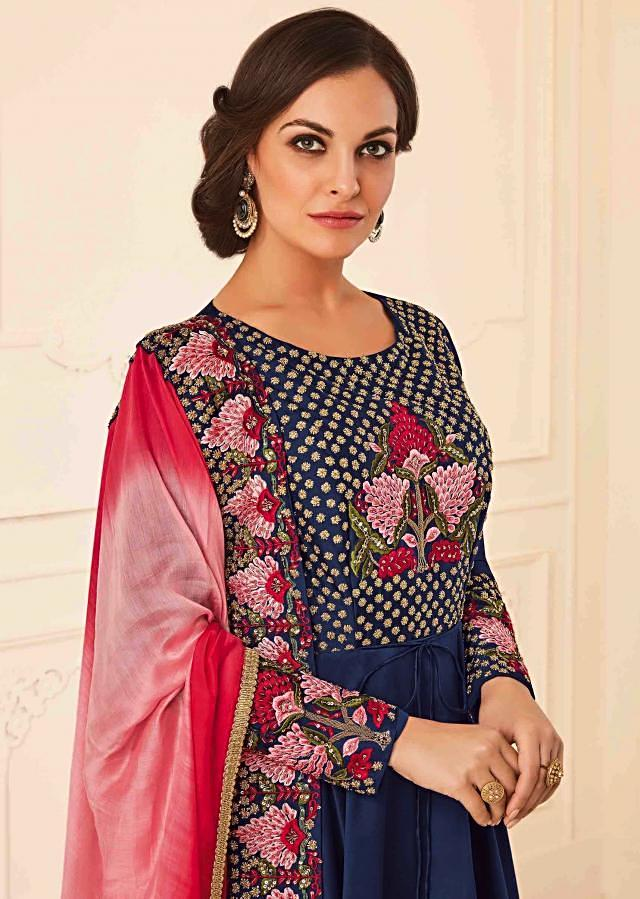 Navy blue anarkali suit with resham and resham embroidered bodice