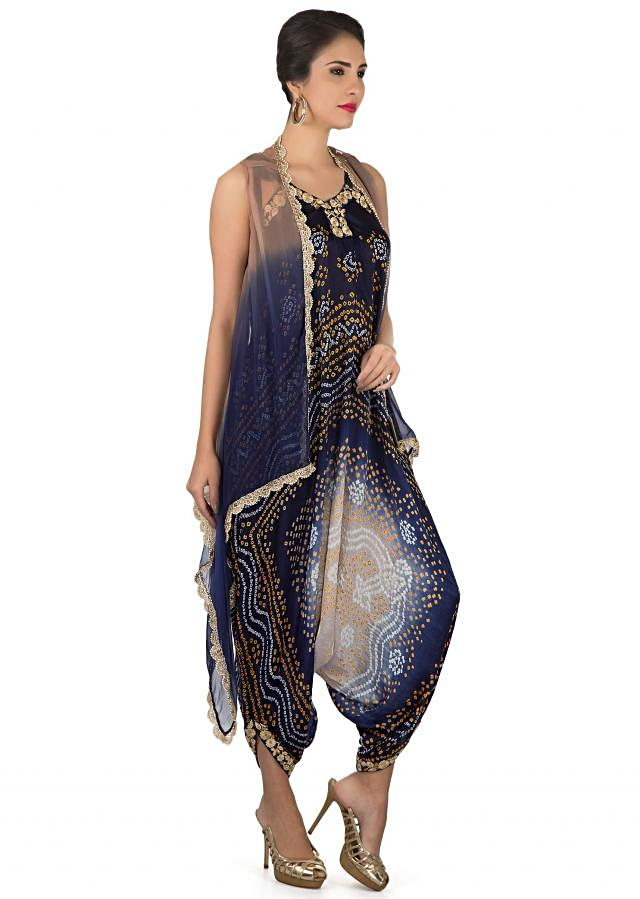 Navy blue and cream bandhani jumpsuit with shaded jacket only on Kalki