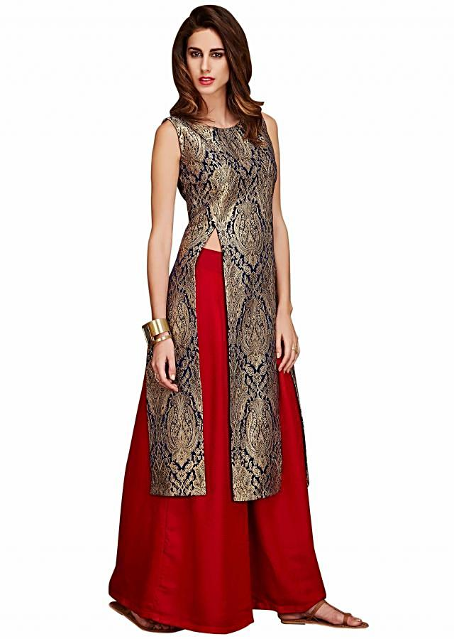Navy blue and gold tunic with red palazzo pant only on Kalki