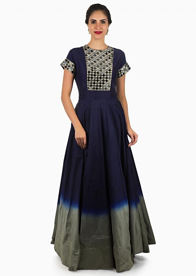 Navy blue and grey anarkali gown in cotton silk beautified in cut dana embroidery work only on Kalki