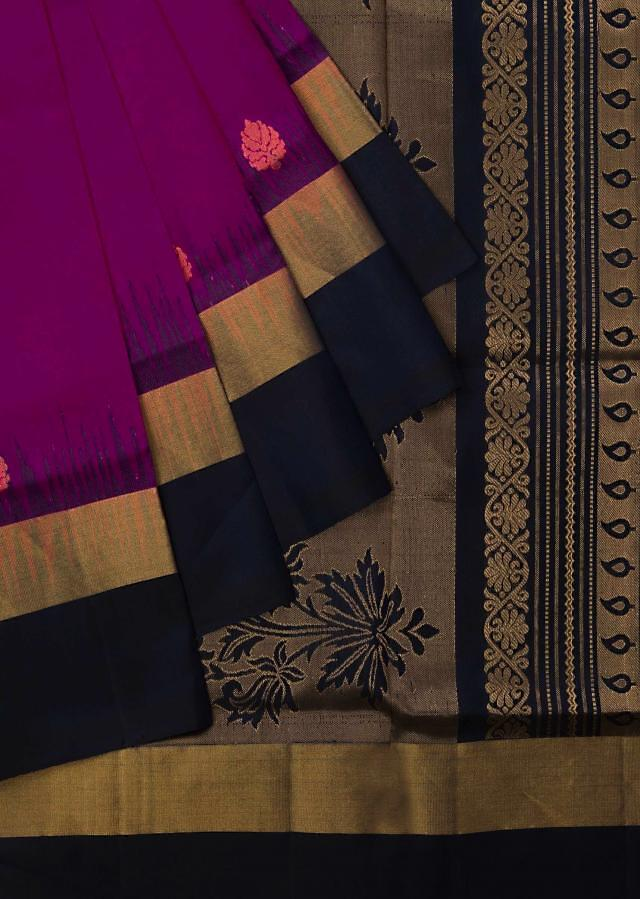 Navy blue and pink saree in silk beautified in weaved embroidery only on Kalki