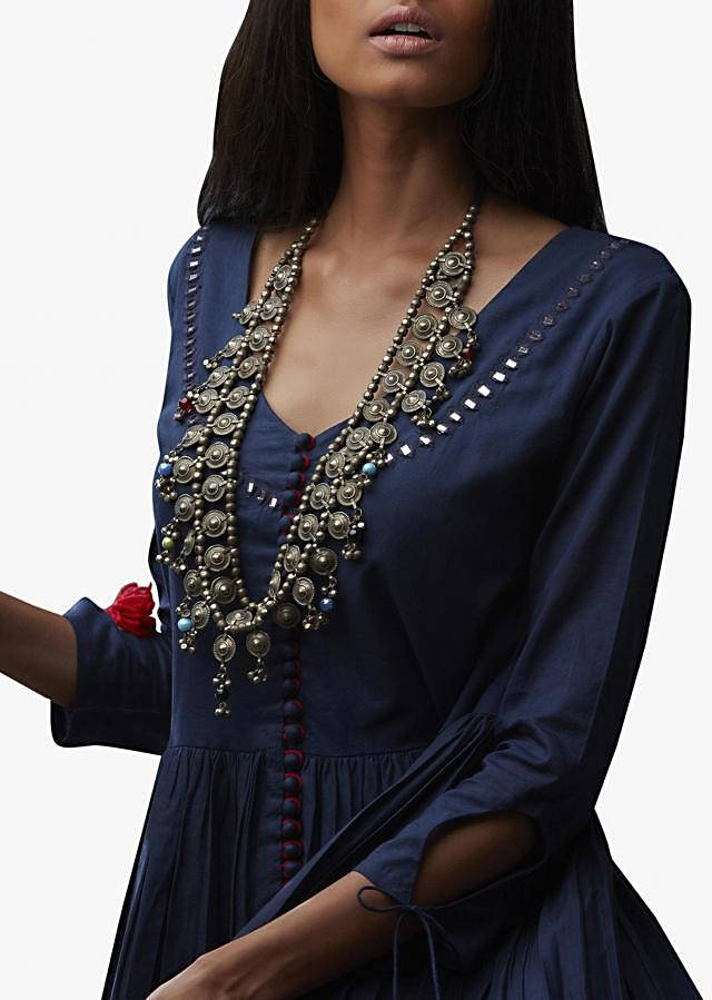 Navy blue and red shaded suit in cotton with mirror embroidered neckline