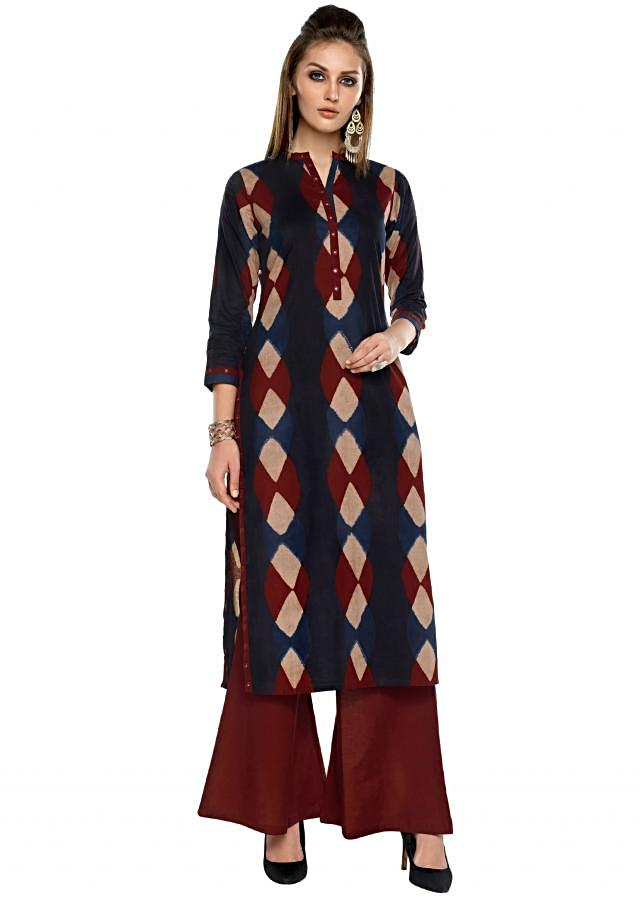 Navy blue and red straight suit with mirror embroidered placket
