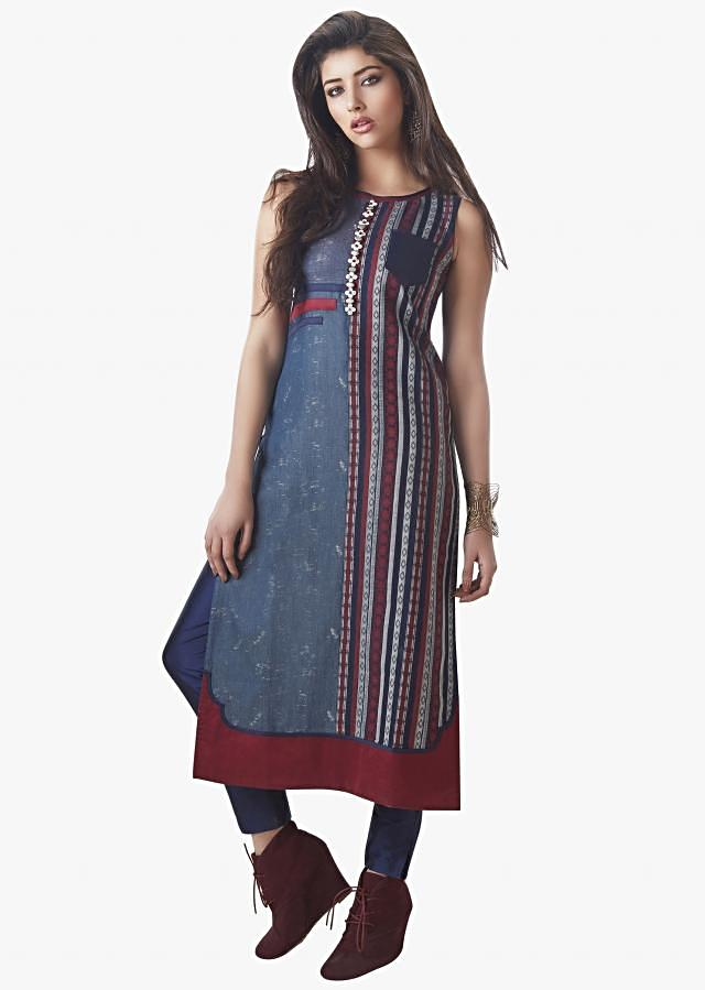 Navy Blue And Red Suit Embellished With Moti And Stone Work Online - Kalki Fashion
