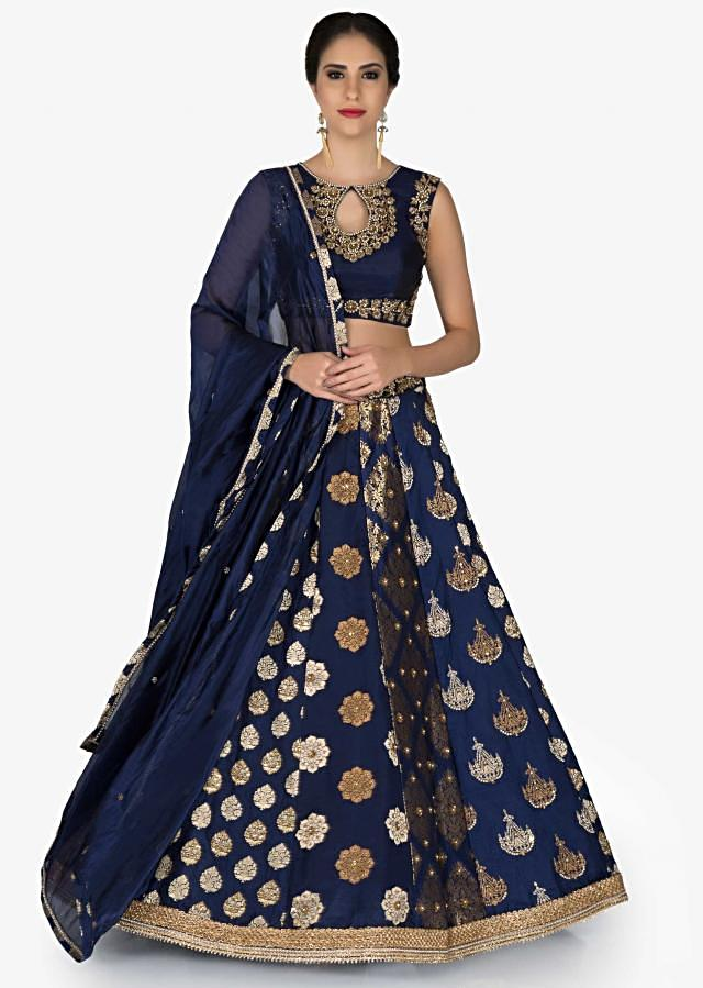 Navy Blue Brocade Silk Lehenga Blouse Ensemble Featuring Zari and Pearls only on Kalki