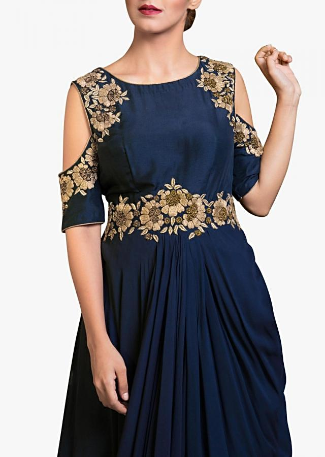 Navy blue cold shoulder indo western gown with embroidered armhole and waist line