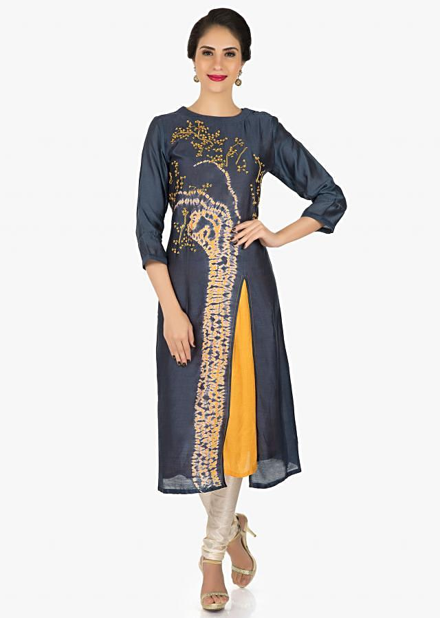 Navy blue cotton kurti featuring the thread work and bandhani print only on Kalki