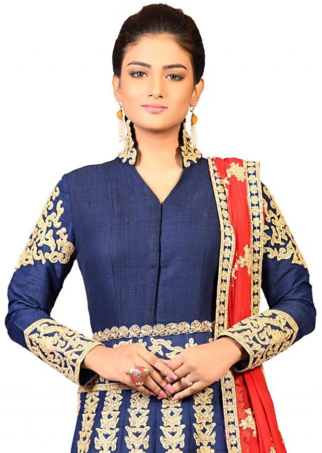 Navy blue couching kali gown in raw silk beautified with dori embroidery only on Kalki