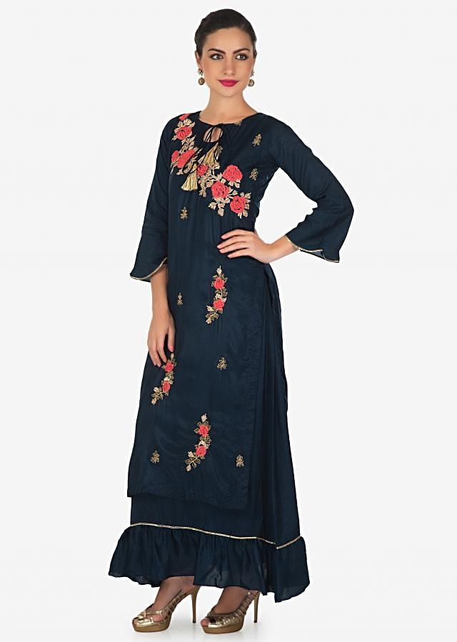 Navy blue double layer kurti adorn in thread and lace embroidered butti only on Kalki
