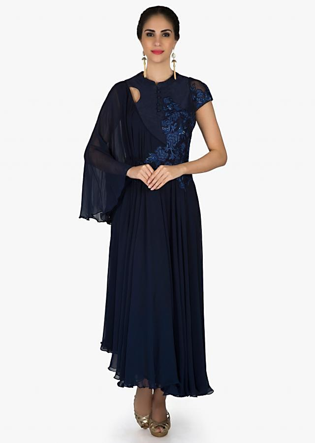 Navy blue dress in georgette with resham embroidery and fancy sleeve only on Kalki