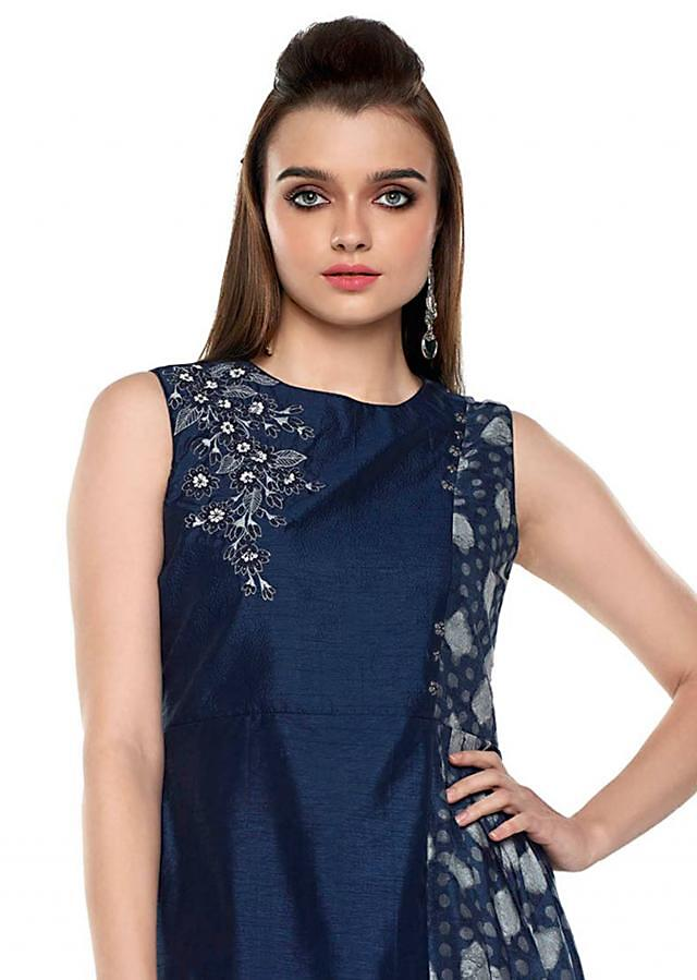 Navy blue fancy suit with polka dots and resham embroidered butti