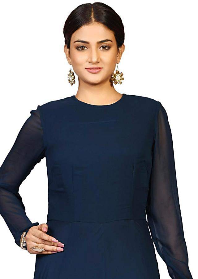 Navy blue flower butta suit in georgette embellished in tikki hand embroidery only on Kalki