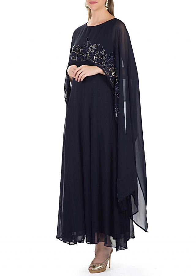 Navy Blue Georgette Dress Featuring Cut Dana Embroidered Cape only on Kalki