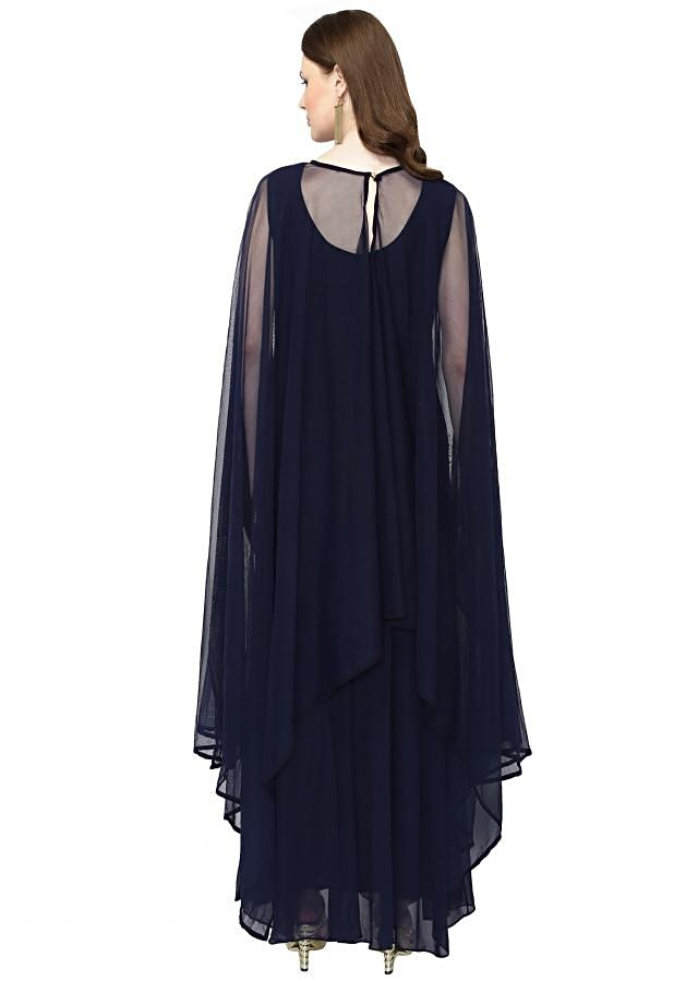 Navy Blue Georgette Gown with Embellished Cape only on Kalki
