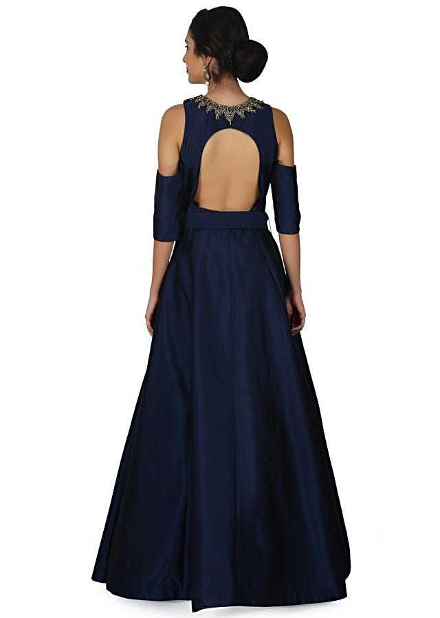 Navy blue gown in cold shoulder with flower vase motif embroidery only on Kalki