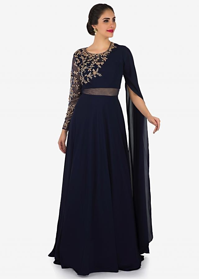 Navy blue gown in fancy sleeve and sheer net with embroidered bodice only on Kalki