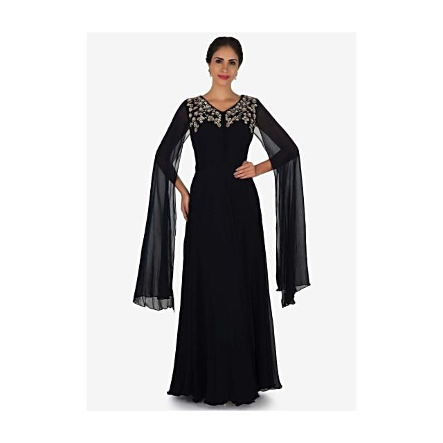 Navy blue gown in georgette crafted with  sequin and zardosi embroidery work only on Kalki