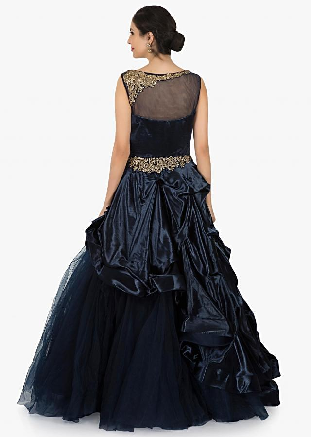Navy blue gown in net amazingly crafted using the zardosi embroidery work only on Kalki