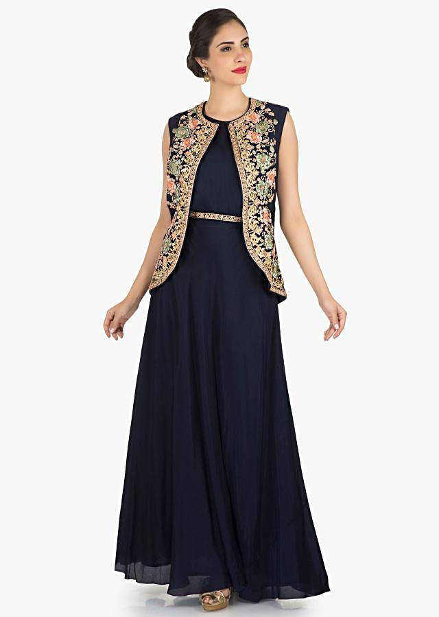 Navy Blue gown with an embellished jacket in resham embroidery work only on Kalki