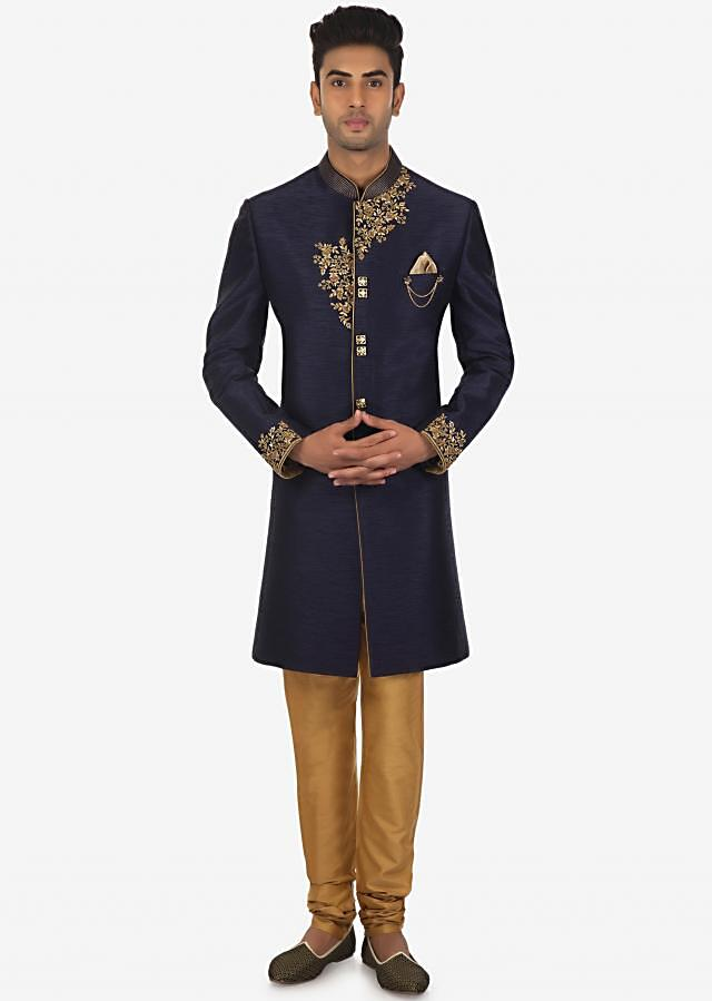 Navy Blue Indo Western Sherwani and Sandal Brown Churidar Set on Kalki