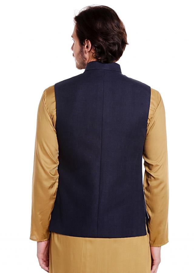 Navy Blue jacket in raw silk crafted with zardosi embroidery in deer motif  only on Kalki