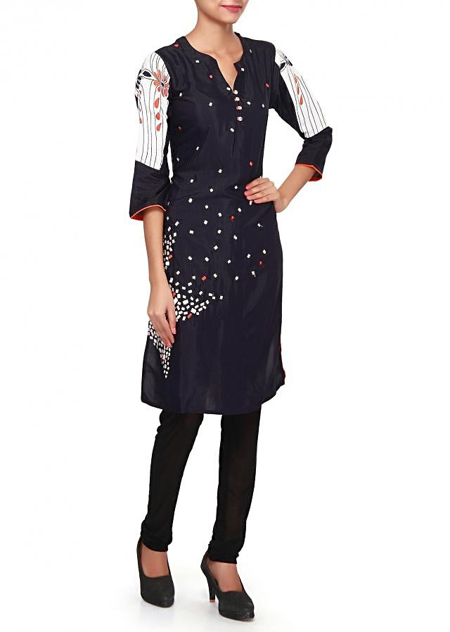 Navy blue kurti embellished in resham embroidery only on Kalki