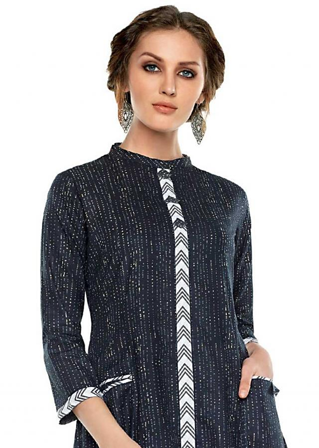 Navy blue kurti in cotton with white printed placket
