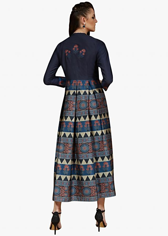 Navy Blue kurti in crepe silk featuring the printed placket style