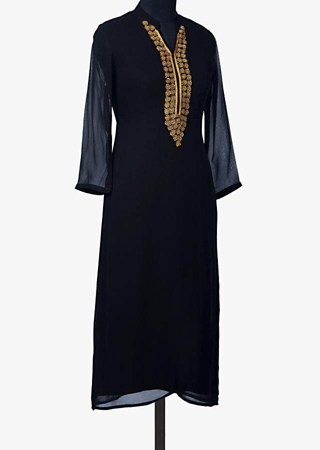 Navy blue kurti with french knot embroidered placket only on Kalki