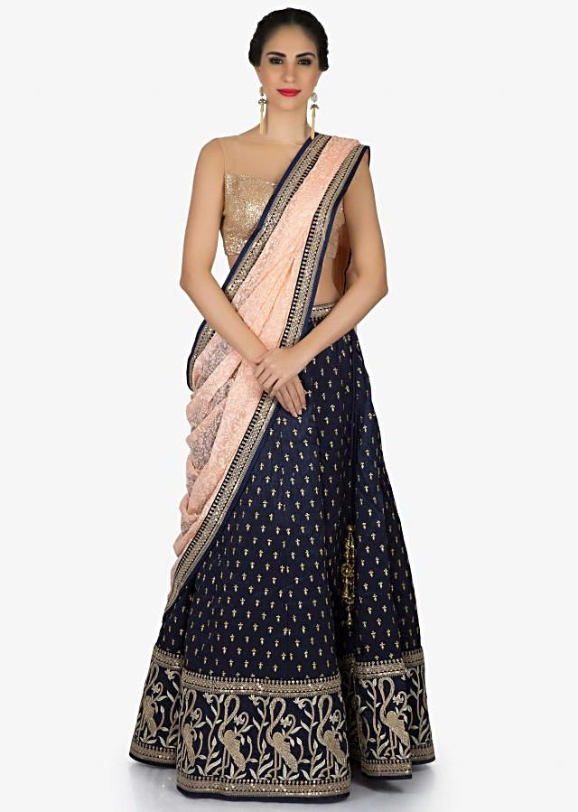 Navy blue lehenga embellished in bird motif with lucknowi embroidered dupatta only on Kalki