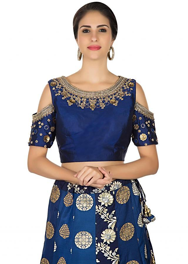 Navy blue lehenga in brocade with embroidered cold shoulder blouse only on Kalki