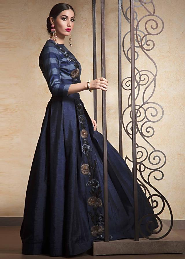 Navy blue lehenga in raw silk embroidered side kali only on Kalki