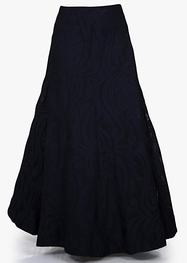 Navy blue lehenga with embroidered blouse and pre stitched dupatta only on Kalki