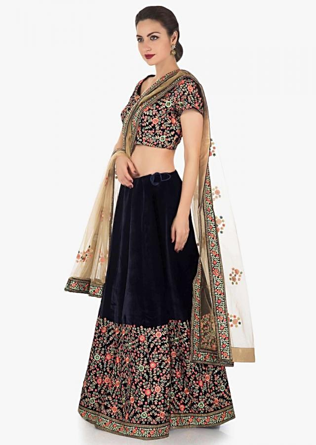 Navy blue lehenga with resham and kundan embroidery with beige dupatta only on Kalki