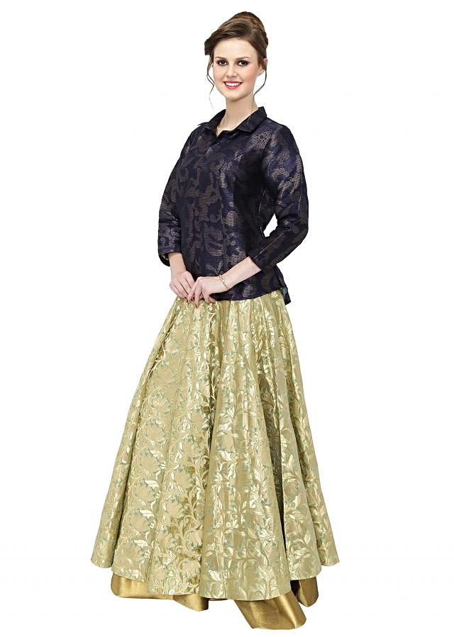 Navy Blue Light Olive Top and Lehenga Ensemble Featuring Brocade Work only on Kalki