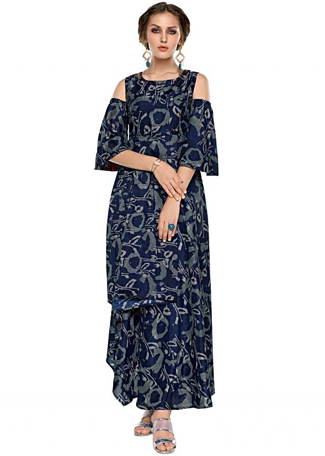 Navy blue long dress in double layer and cold shoulder