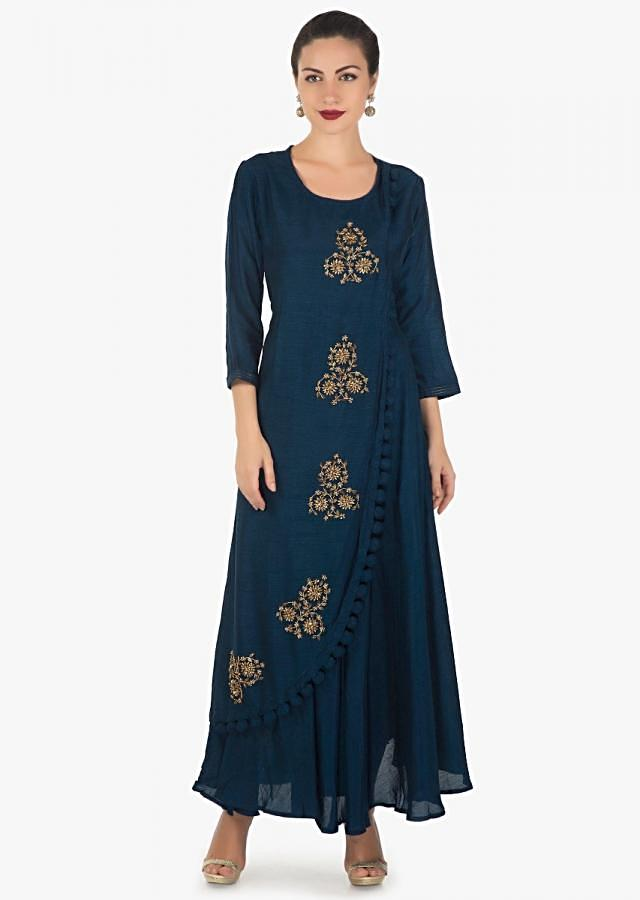 Navy blue long over lapping kurti in embroidered butti and fancy tassel only on Kalki