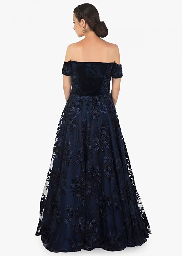 Navy blue net and velvet gown adorn in resham and sequin patch work only on Kalki